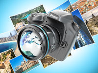Digital photo camera on background from photographs.