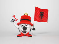 Soccer character fan supporting Albania