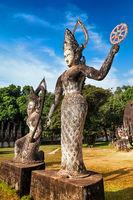 Mythology and religious statues Buddha park. Laos
