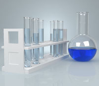 Test-tube with blue liquid . Computer generated