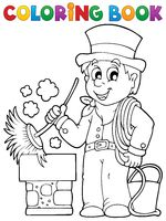 Coloring book chimney sweeper - picture illustration.