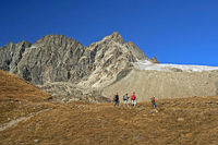 Hikers in the Swiss Alps, Valais, Switzerland