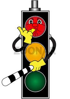 Cartoon red traffic light
