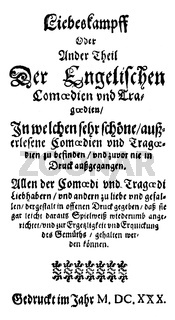 1620; front page of the book Englische Comoedianten by Heinrich Julius; 1564 - 1613
