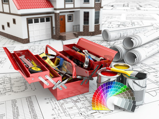 Construction and repair concept. Toolbox, paint cans and house.