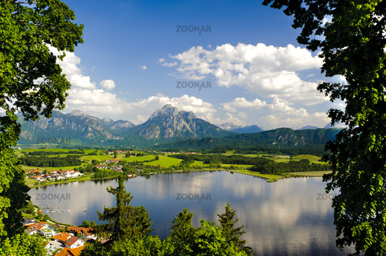 panorama landscape in Bavaria with lake Hopfensee