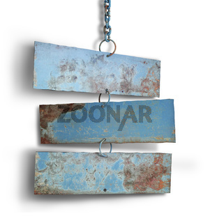 Tree iron plate hang on chains.