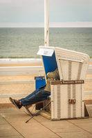 roofed wicker beach chair