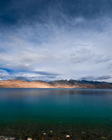Sunset at Tso Moriri Lake. Himalaya mountains landscape with blue sky. India, Ladakh, altitude 4600 m