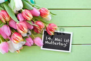 Bunte Tulpen auf gruenem Hintergrund