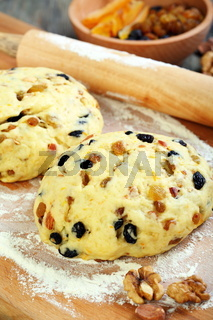 Dough with candied fruits and nuts for Christmas baking.