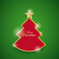 Red Christmas Tree Green Background