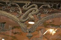 Snake symbol. Shop window Old pharmacy in Füssen, Allgäu