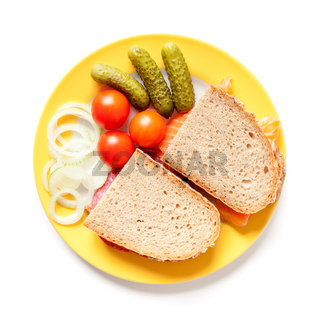 bread with salami and salmon