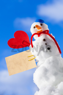 Little happy christmas snowman red heart paper card outdoor. Winter.