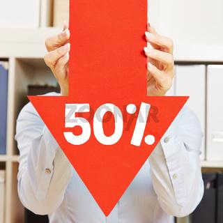 Pfeil mit 50% Rabatt
