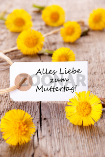 White Tag with the German Words Alles Liebe zum Muttertag