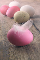 Easter eggs with feather on old wooden table