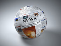 News concept. Newspaper sphere. Three-dimaensional image.