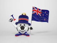 Soccer character fan supporting New Zealand