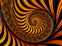 Digital Art Golden Fractal Spiral