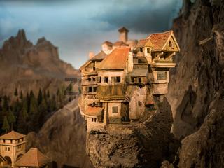 Miniature village on rock hill