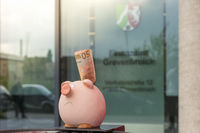A piggy bank stands with 50 euros before tax offic