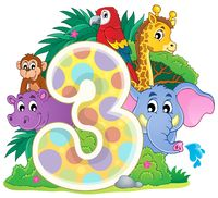 Happy animals around number three - picture illustration.