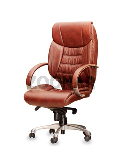 The office chair from brown leather. Isolated