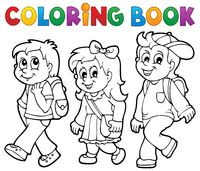 Coloring book school kids theme 2 - picture illustration.