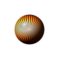 Orange black and white globe on white background.