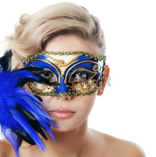 The beautiful girl in carnival mask