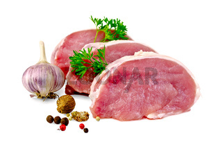 Meat pork slices with spices and garlic
