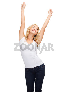 happy dancing woman in blank white t-shirt