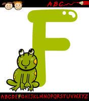 letter f for frog cartoon illustration