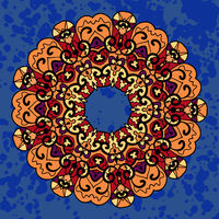 Vintage ethnic vector ornament mandala on deep blue background