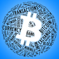 Bitcoin Symbol mit Tag Cloud