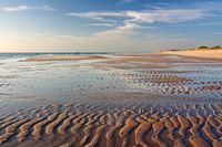 Sandwatt im Abendlicht am Weststrand von Sylt an der Nordsee