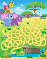 Maze 16 with tropical animals - picture illustration.