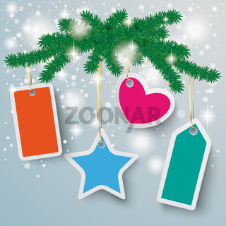 Colored Price Stickers Snow Lights Fir Branch PiAd