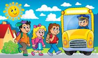 Image with school bus topic 2 - picture illustration.