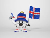 Soccer character fan supporting Iceland