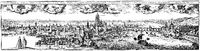 Historical  cityscape, Frankfurt, Germany, 18th Century