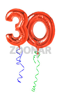 Red balloons with ribbon - Number 30