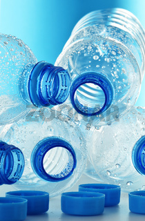Composition with empty polycarbonate plastic bottles of mineral water