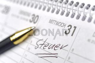 memo in calendar for german tax-day