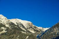 Panorama über den Faltenbachtobel zum Geißfuß, 1981m, und Station Höfatsblick, 1927m, bei Oberstdorf, Oberallgäu, Allgäuer Alpen, Allgäu, Bayern, Deutschland, Europa