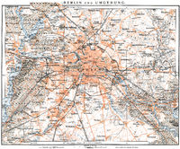 Historic map of Berlin, Germany, 1896,