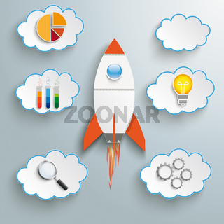 Rocket Startup Clouds With Icons PiAd