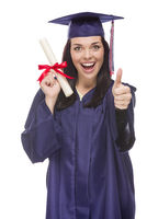 Mixed Race Graduate in Cap and Gown Holding Her Diploma